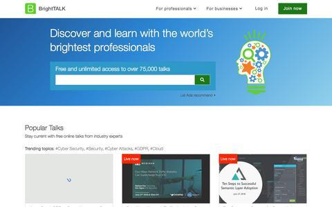 Screenshot of Home Page brighttalk.com - Homepage – BrightTALK - captured June 27, 2018