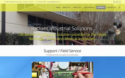 Screenshot of Support Page radiantuv.com - Radiant Industrial Solutions | SUPPORT - captured Oct. 27, 2014