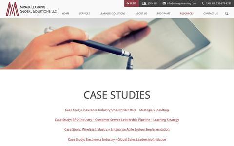 Screenshot of Case Studies Page minayalearning.com - Case Studies - Minaya Learning Global Solutions, LLC - captured Oct. 19, 2018