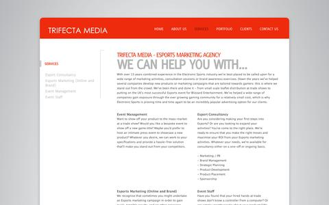 Screenshot of Services Page trifectamedia.net - Esports Marketing Agency - Services | Trifecta Media - captured Oct. 7, 2014