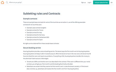 Screenshot of Terms Page housinganywhere.com - Subletting rules and Contracts - captured April 6, 2017
