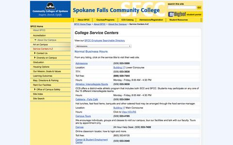 Screenshot of Services Page Hours Page spokanefalls.edu - SFCC Service Centers - captured Oct. 26, 2014