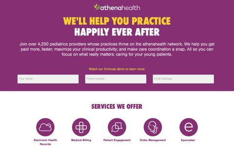 Screenshot of Landing Page athenahealth.com - Cloud-Based EHR and Practice Management Services | athenahealth - captured April 6, 2016