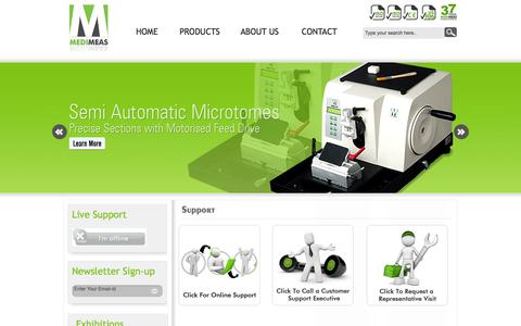 Screenshot of Support Page medimeas.com - Best Microtomes Manufacturers Suppliers and Exporters from India - captured Sept. 19, 2014