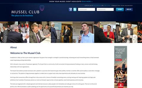 Screenshot of About Page themusselclub.com - The Mussel Club | About - captured Oct. 4, 2015