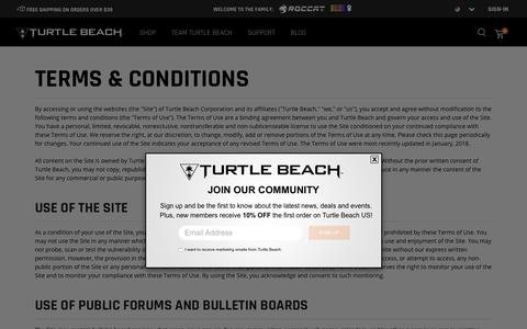 Screenshot of Terms Page turtlebeach.com - Turtle Beach® Terms & Conditions - captured July 20, 2019