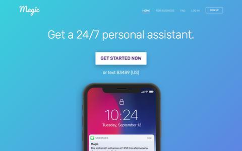 Screenshot of Home Page getmagic.com - Magic - Personal Assistant On Demand - captured Jan. 20, 2018