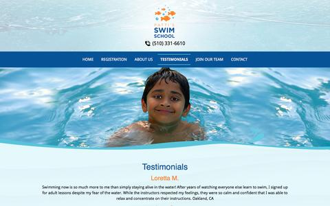 Screenshot of Testimonials Page pattisswimschool.com - Swim Lessons | Testimonials - Castro Valley, CA - captured July 19, 2016