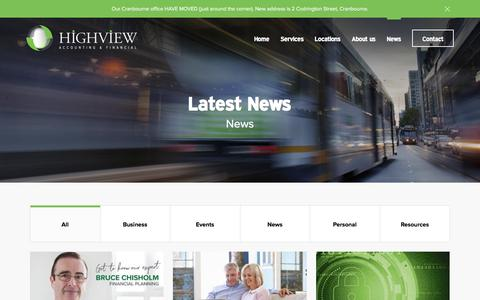Screenshot of Press Page highview.com.au - News - Highview Accounting & Financial - captured Aug. 14, 2017
