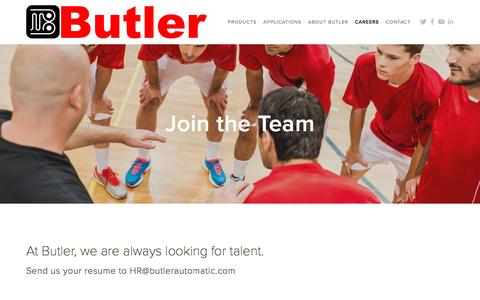 Screenshot of Jobs Page butlerautomatic.com - Join the Team — Butler Automatic - captured Nov. 23, 2016