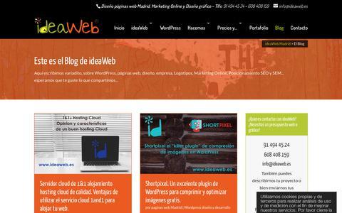 Screenshot of Blog ideaweb.es - El Blog | ideaWeb Diseño paginas web Madrid creacion web HTML especialistas Wordpress - captured Feb. 12, 2018