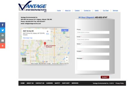 Screenshot of Privacy Page Contact Page vantage-enviro.com - Contact Us - captured Oct. 19, 2017