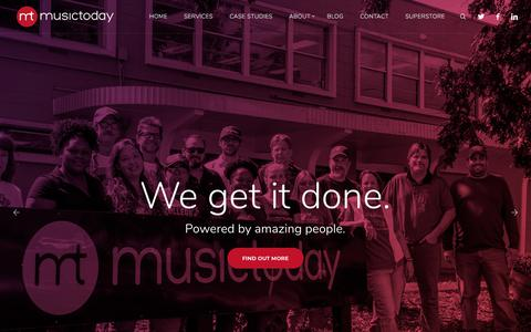 Screenshot of Home Page musictoday.com - Musictoday | 360° E-Commerce Solutions | Empowering Brands Online - captured Sept. 20, 2018