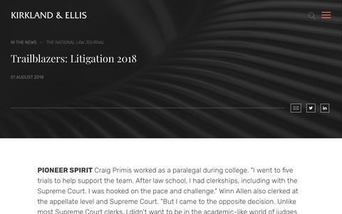 Screenshot of Press Page kirkland.com - Trailblazers: Litigation 2018 | News | Kirkland & Ellis LLP - captured July 15, 2019
