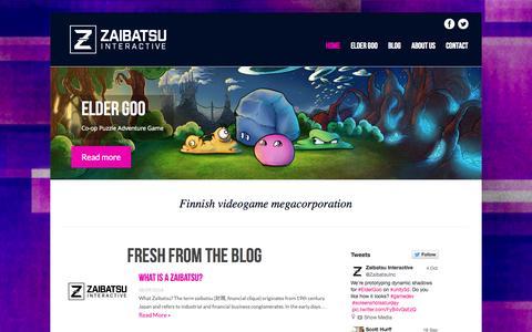 Screenshot of Home Page zaibatsu.fi - Zaibatsu Interactive   Home   www.zaibatsu.fi - captured Oct. 7, 2014