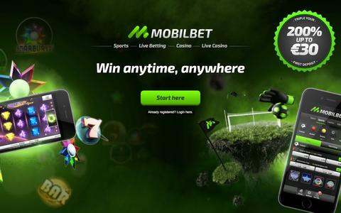 Screenshot of Home Page mobilbet.com - Mobilbet | Sports betting and Casino on your mobile, tablet or desktop - captured Dec. 2, 2015