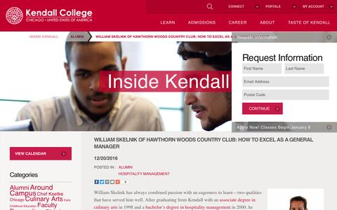 Screenshot of Blog kendall.edu - William Skelnik of Hawthorn Woods Country Club: How to Excel as a General Manager - Kendall College - captured Dec. 28, 2016