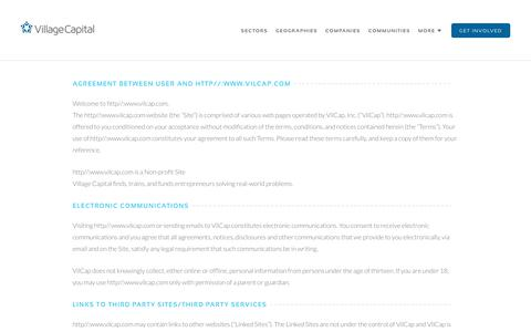 Screenshot of Terms Page vilcap.com - Terms & Conditions   Village Capital - captured Oct. 18, 2018