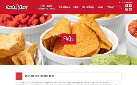 Screenshot of FAQ Page snakking.com - FAQs - Snak King - captured Sept. 20, 2018