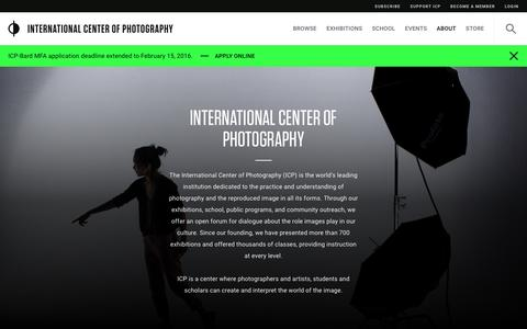 Screenshot of About Page icp.org - International Center Of Photography   International Center of Photography - captured Feb. 8, 2016