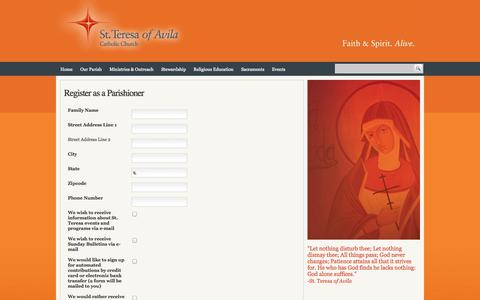 Screenshot of Signup Page st-teresa.net - Register as a Parishioner - captured Oct. 6, 2014