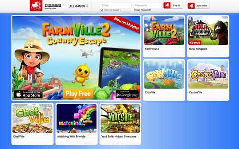 Screenshot of Home Page zynga.com - Zynga | Play free online games with friends - captured Sept. 17, 2014