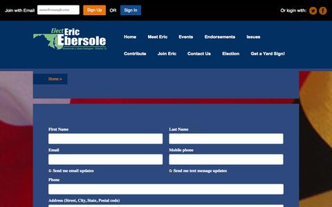 Screenshot of Signup Page ericebersole.org - Join Eric! - captured Oct. 2, 2014