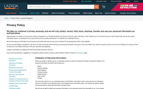 Privacy Policy | Lazada Singapore