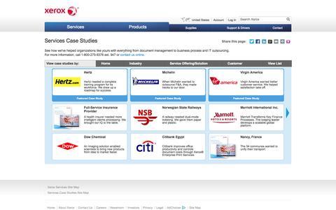 Screenshot of Case Studies Page xerox.com - Services Case Studies - Xerox - captured Oct. 28, 2014