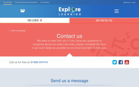 Screenshot of Contact Page explorelearning.co.uk - Contact Us To Find Out More - Explore Learning - captured Dec. 1, 2019