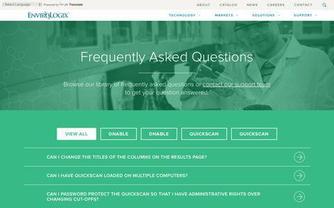 Screenshot of FAQ Page envirologix.com - Frequently Asked Questions - EnviroLogix - captured Dec. 10, 2015
