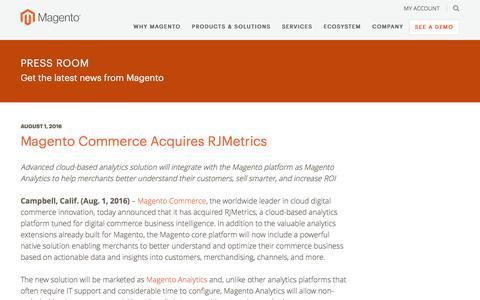 Screenshot of Press Page magento.com - Magento Commerce Acquires RJMetrics | Magento - captured March 9, 2017