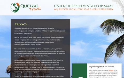 Screenshot of Privacy Page quetzaltravel.nl - Privacy - Quetzal Travel - captured July 25, 2018