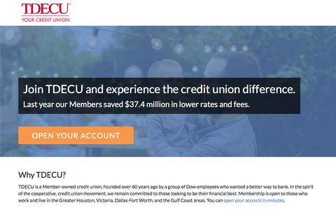 Screenshot of Signup Page tdecu.org - TDECU Free Checking - You're Eligible! - captured Sept. 23, 2018
