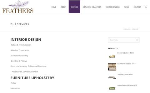Screenshot of Services Page feathersdesign.com - Our Services | Feathers Design - captured Oct. 13, 2017
