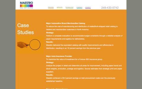 Screenshot of Case Studies Page maestromps.com - Case Studies - Maestro Print and Media Solutions - captured Jan. 21, 2016