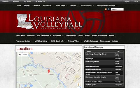 Screenshot of Maps & Directions Page louisianavolleyball.net - Louisiana Volleyball » Locations & Directions - captured Dec. 13, 2015