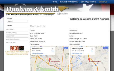 Screenshot of Contact Page dunhamandsmith.com - Contact Us - captured Oct. 5, 2014