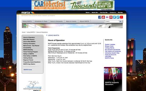 Screenshot of Hours Page itsmarta.com - MARTA - Using MARTA - captured Oct. 27, 2014