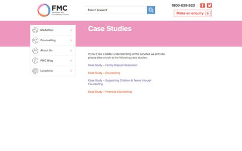 Screenshot of Case Studies Page mediation.com.au - Case Studies - FMC Mediation and Counselling Victoria - captured Feb. 9, 2016