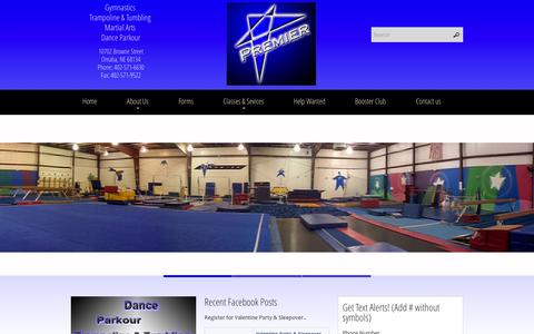 Screenshot of Home Page premier-gymnastics.com - Premier Gymnastics | Gymnastics, Trampoline & Tumbling, Dance, Martial Arts, Parkour, Birthday Parties, Day Camps - captured Jan. 21, 2015