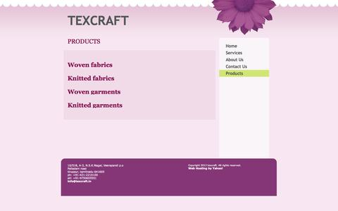 Screenshot of Products Page texcraft.in - texcraft - PRODUCTS - captured Oct. 7, 2014