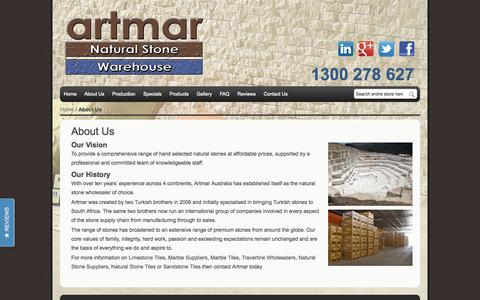 Screenshot of About Page artmar.com.au - About Us - captured Oct. 4, 2014