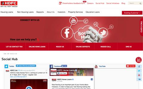 Screenshot of hdfc.com - Social Hub - HDFC - captured Sept. 11, 2017