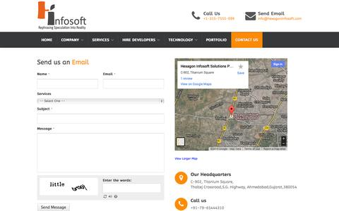 Screenshot of Contact Page hexagoninfosoft.com - Contact - Iphone Apps, Android Apps, Development Company India – Hexagon Infosoft Solutions - captured Sept. 19, 2014