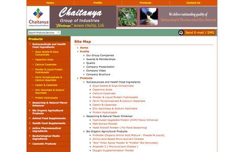 Screenshot of Site Map Page chaitanyagroups.com - Site Map - Chaitanya Biologicals Pvt. Ltd. - captured Oct. 2, 2014