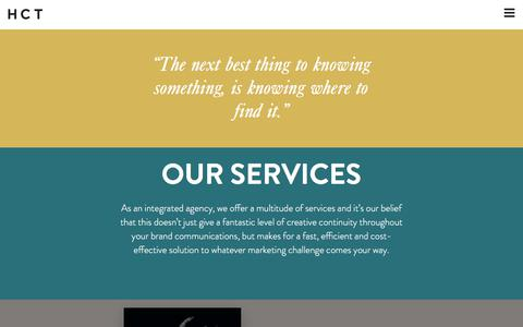 Screenshot of Services Page hctcreative.com - Services | First Class Creative Solutions - captured July 25, 2018