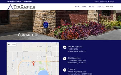 Screenshot of Contact Page tricorps.com - Contact | TriCorps - captured Dec. 20, 2016