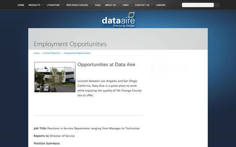 Screenshot of Jobs Page dataaire.com - Employment Opportunities | Data Aire - captured Feb. 8, 2016