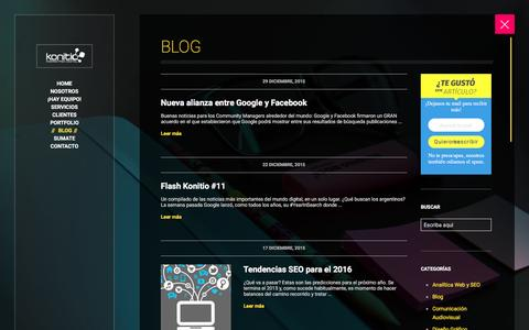 Screenshot of Blog konitio.com - Blog | Konitio Marketing Digital C�rdoba - captured Jan. 9, 2016